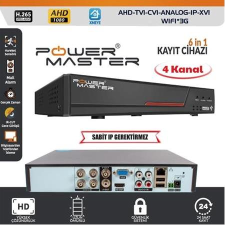 POWERMASTER PM-19425 6IN1 4 KANAL 1080N DVR KAYIT CİHAZI